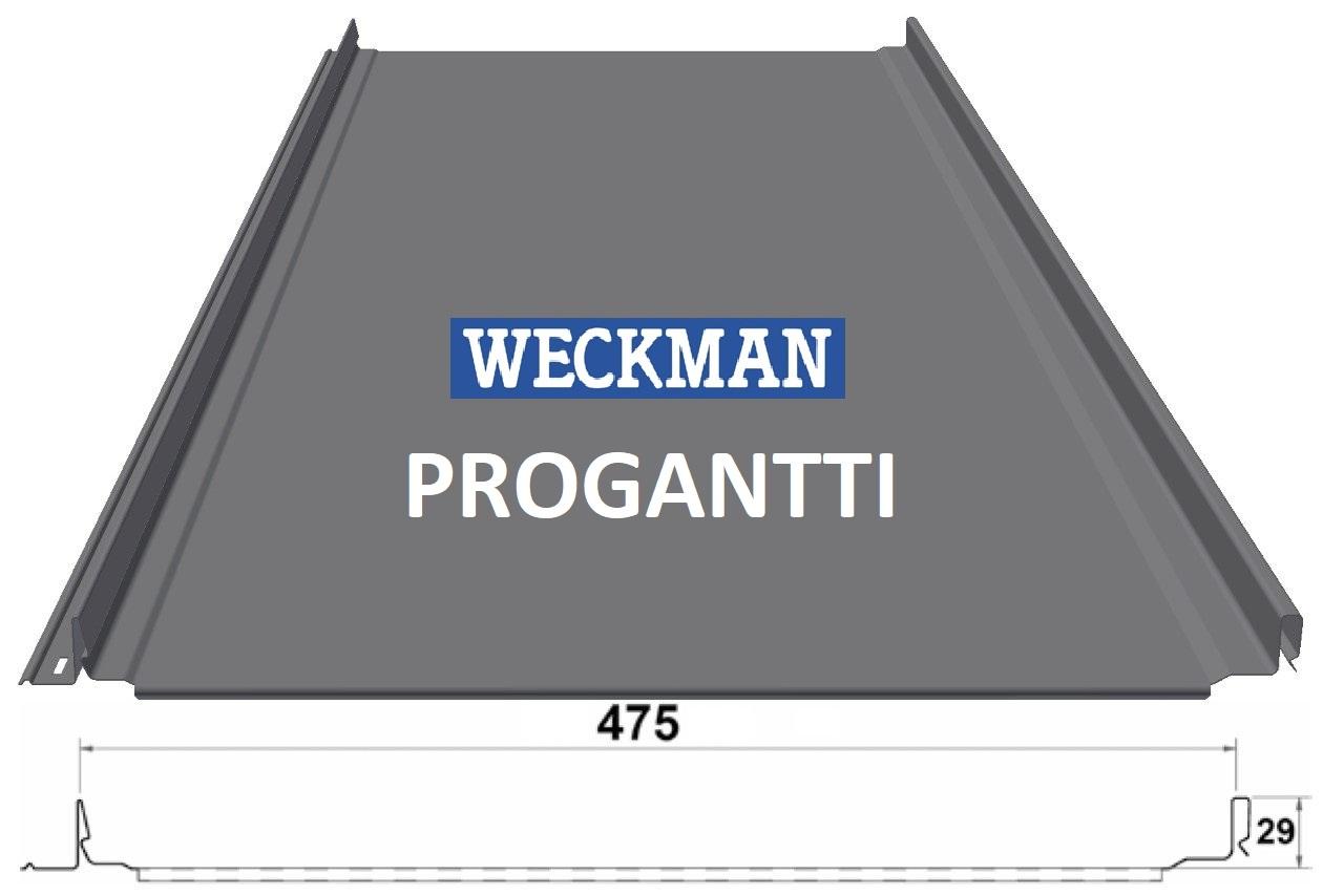 Фальцевая кровля в размер 475 мм Weckman PROGANTTI Purex 0,5 мм (Фин)